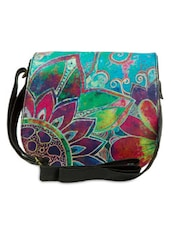 Multicolored Printed Leatherette Saddle Bag - By - 1292376
