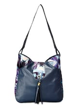 Blue Leatherette Canvas Printed Shoulder Bag - By