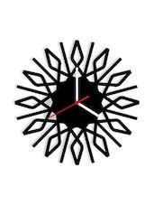 Black Acrylic Round Shape With Triangle Geometric  Wall Clock - By