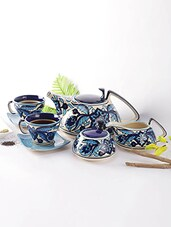 Blue Ceramic Moroccan Hand Painted Tea Set - By