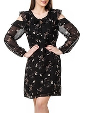 black floral printed georgette dress -  online shopping for Dresses