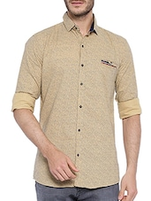 beige cotton printed casual shirt -  online shopping for casual shirts
