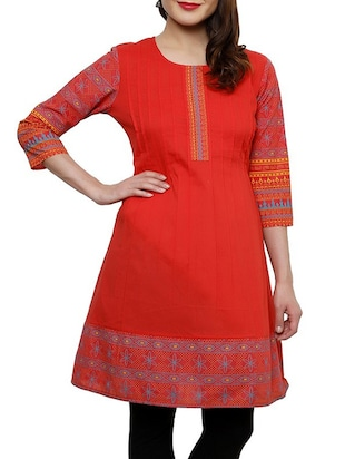 red cotton aline kurta -  online shopping for kurtas