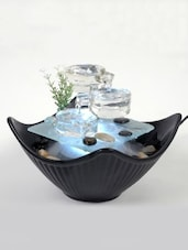 Transparent Glass Fountain With Black Ceramic Base - By