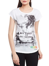 white printed polyester regular tee -  online shopping for Tees