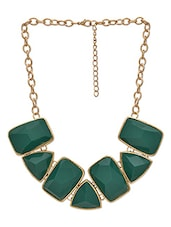 Gold And Green Metallic Stone Necklace - By