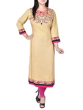 Beige Embroidered Rayon Straight Kurta - By
