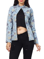 blue paisley printed denim jacket -  online shopping for Summer Jackets