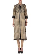 Beige And Black Printed Chanderi Kurta - By