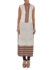 Cream Printed Cotton Kurta With Cutout Work - By