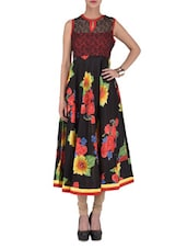 Black Floral Printed Cotton Anarkali Kurta - By