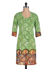 Green Printed Poly Georgette Kurti - By