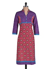 Purple And Pink Printed Cotton Kurti - By