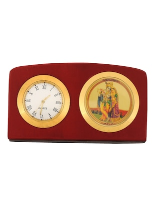 Leganza Radha Krishna Table Clock Idol Brown Golden -  online shopping for Table Clocks