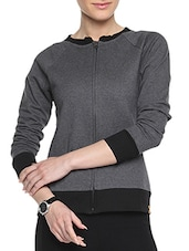 Black Cotton Solid Long Sleeves Zipper Jacket - By