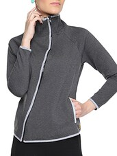 Black Cotton Solid Long Sleeves Piped Jacket - By