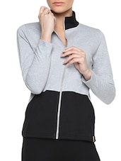 Grey Cotton Solid Long Sleeves Jacket With Pockets - By