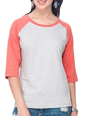 Grey, Pink Cotton Solid Three Quarter Sleeves M��lange Top - By