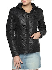 Black Nylon Solid Long Sleeves Jacket - By