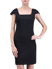 Black Plain Polyester Spandex Knit Dress - By