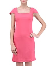 Pink Plain Polyester Spandex Knit Dress - By