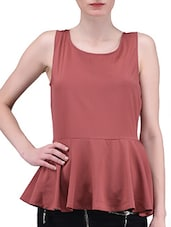 Red Plain Poly Crepe Top - By