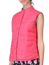 Pink Plain Polyester Jacket - By