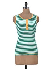 Blue  Cotton Striped Casual Top - By