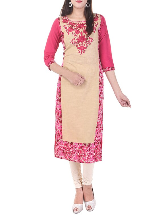 Beige Embroidered Cotton Straight Kurta - By