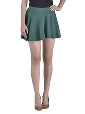 Dark Green Cotton Spandex Blended Skater Skirt - By