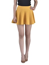Mustard Yellow Cotton Spandex Blended Skater Skirt - By