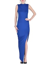 Blue Polyester And Spandex Maxi Dress - By