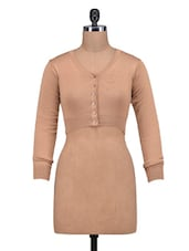 Solid Light Brown Woolen Buttoned Top - By