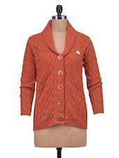 Solid Rust Collared Woolen Cardigan - By