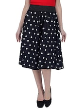 black polka dots printed crepe culottes -  online shopping for Capris