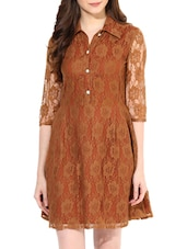 Brown Poly Lace Shirt Dress - By