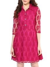 Fuchsia Poly Lace Shirt Dress - By