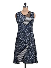 Floral And Hound's-tooth Printed Navy Blue Wrap Dress - By