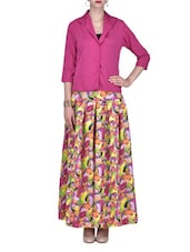 Printed Magenta Box-Pleated Long Skirt With Shirt - By