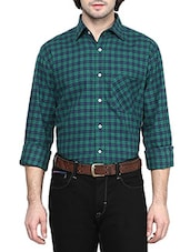 green wool checked formal shirt -  online shopping for formal shirts