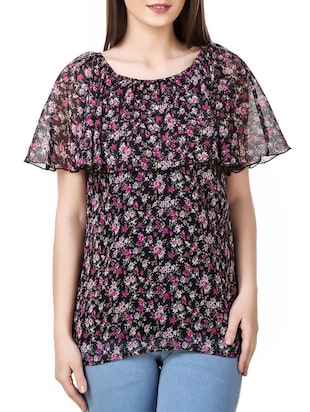 black floral printed chiffon regular top -  online shopping for Tops