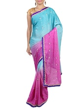 Pink And Blue Polyester Printed Sari - By