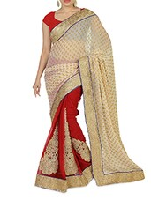 Beige And Red Embroidered Faux Georgette Sari - By