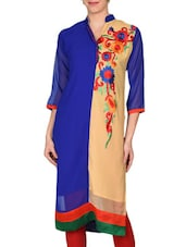 Blue And Beige Georgette Embroidered Kurta - By