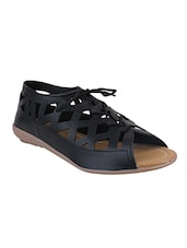 black lace-up sandal -  online shopping for sandals
