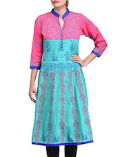 Blue Cotton Block Printed Anarkali Kurta - By