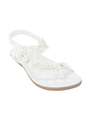 white pu back strap sandals -  online shopping for sandals