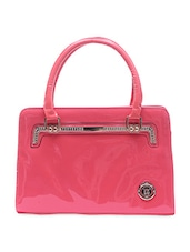 Candy Pink Embellished Leather Handbag - By