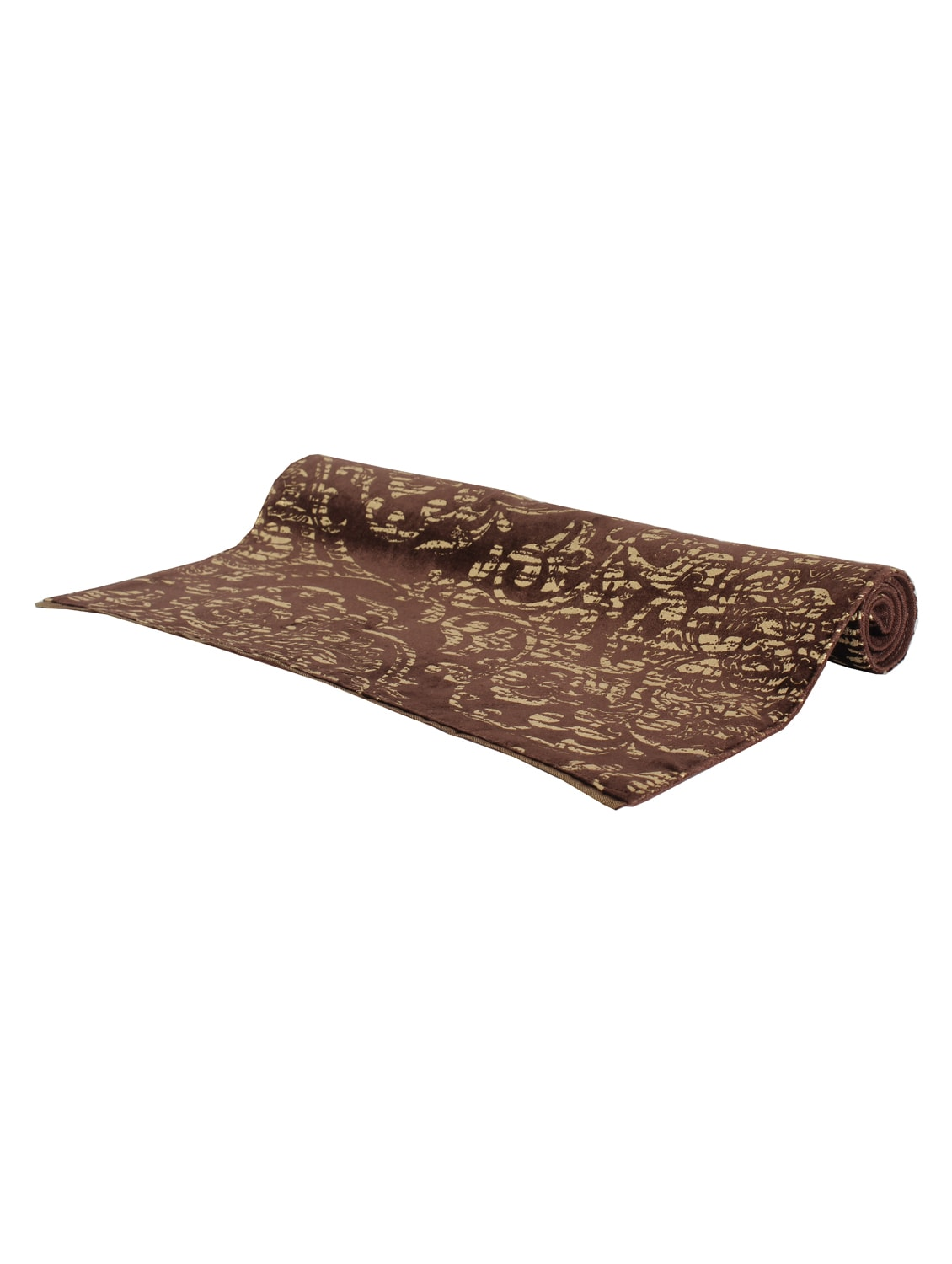 Sanaa Gold Foil Printed Velvet Table Mat Set Of 2Pcs Brown/gold 33x48 Cms - By