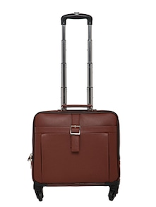 brown leather trolleybag